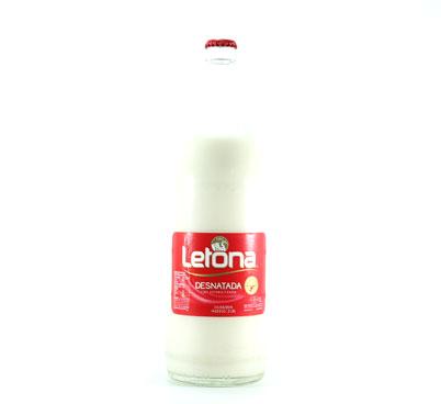 Llet Letona desnatada en envàs de vidre