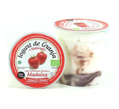 Iogurt natural amb melmelada biològica de maduixes Granges Comas
