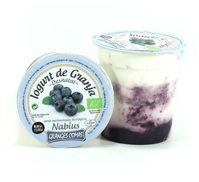 Iogurt desnatat amb melmelada biològica de nabius Granges Comas