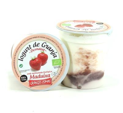 Iogurt desnatat amb melmelada biològica de maduixes Granges Comas