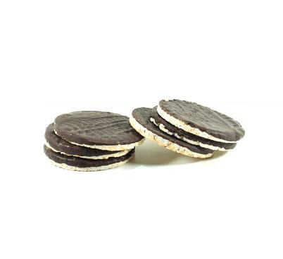 Tortites d'arròs amb xocolata negra